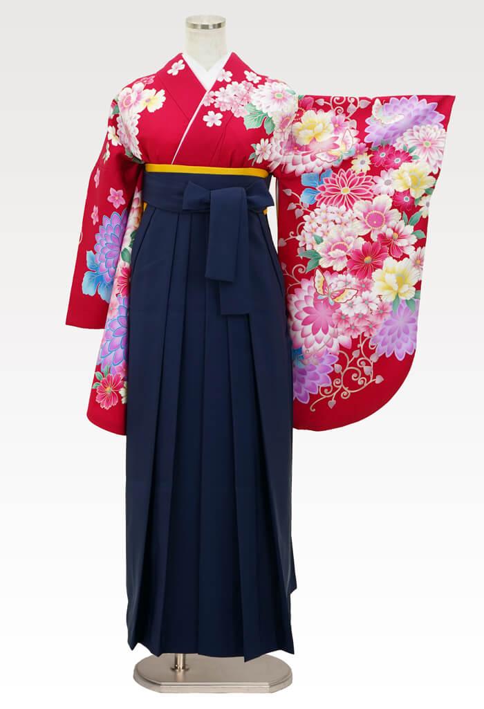 【着物】赤地ダリアに蝶+【袴】コン