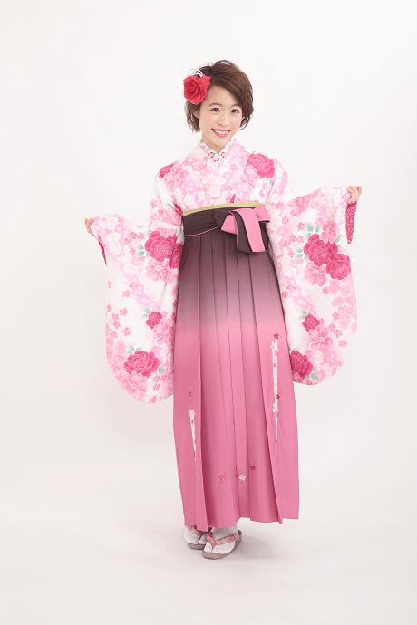 HL白×ピンクバラに蘭とTRピンクぼかしレース桜のサムネイル
