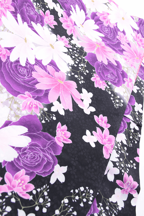 レンタル着物:HL黒バラにコスモス詳細