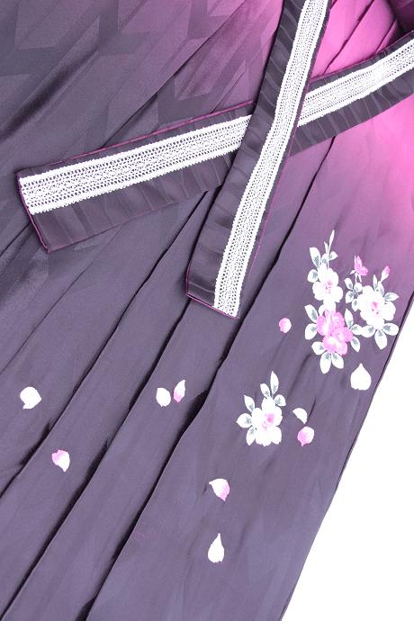 レンタル袴:HL紫ぼかしバラ刺繍詳細