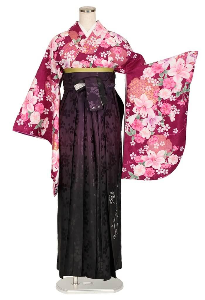 【着物】赤紫百合に桜+【袴】ムラサキ黒ぼかしスワロ桜地