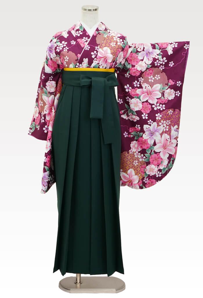 【着物】赤紫百合に桜+【袴】フカミドリ