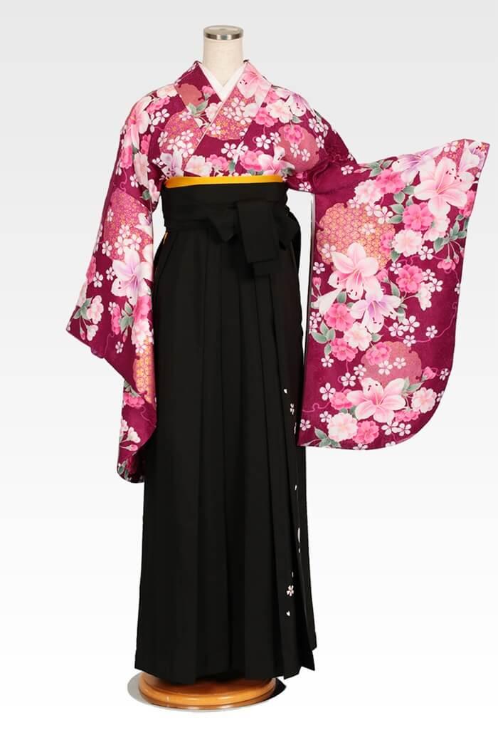 【着物】赤紫百合に桜+【袴】クロ友ヤエザクラ