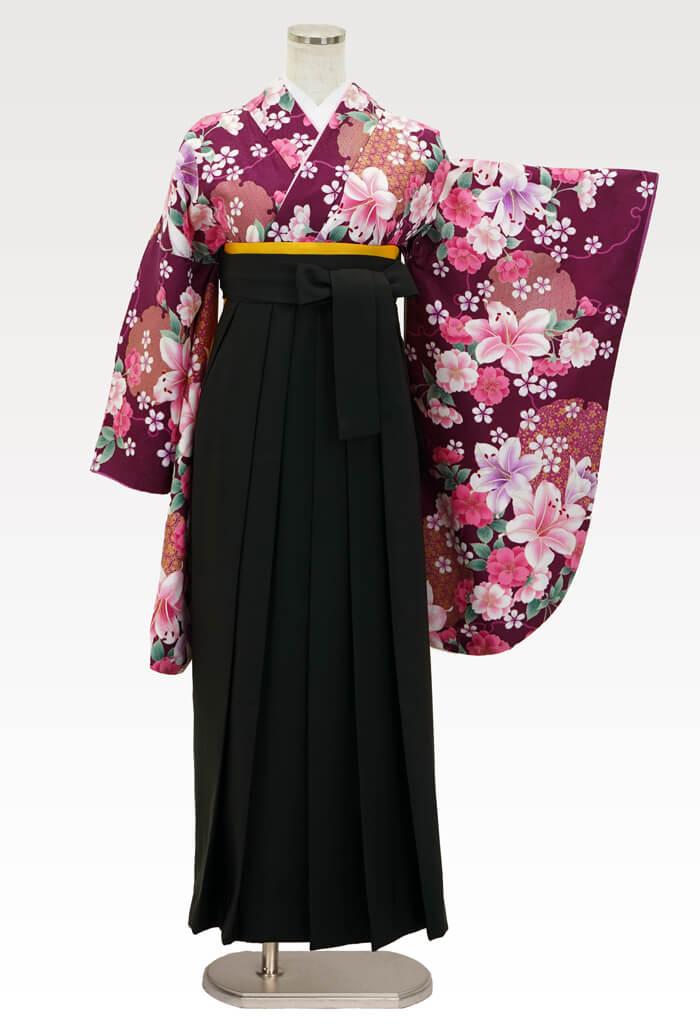【着物】赤紫百合に桜+【袴】クロ