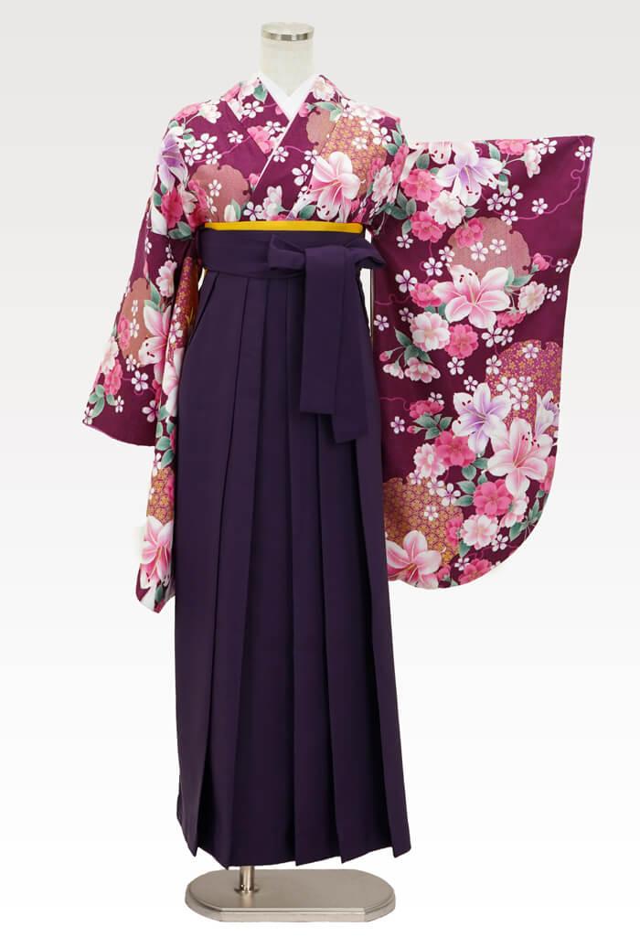 【着物】赤紫百合に桜+【袴】ムラサキ