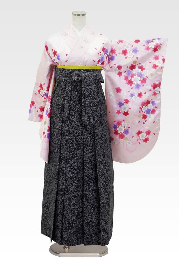 【着物】ピンクラメ小桜+【袴】JAM総柄クロ