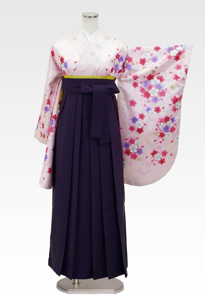【着物】ピンクラメ小桜+【袴】ムラサキ