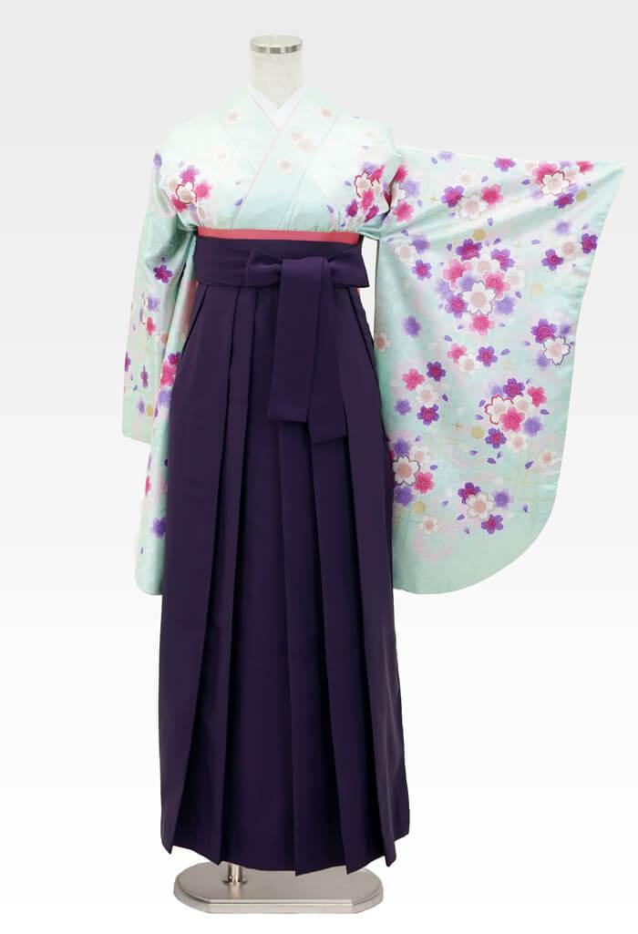 【着物】グリーンラメ小桜+【袴】ムラサキ