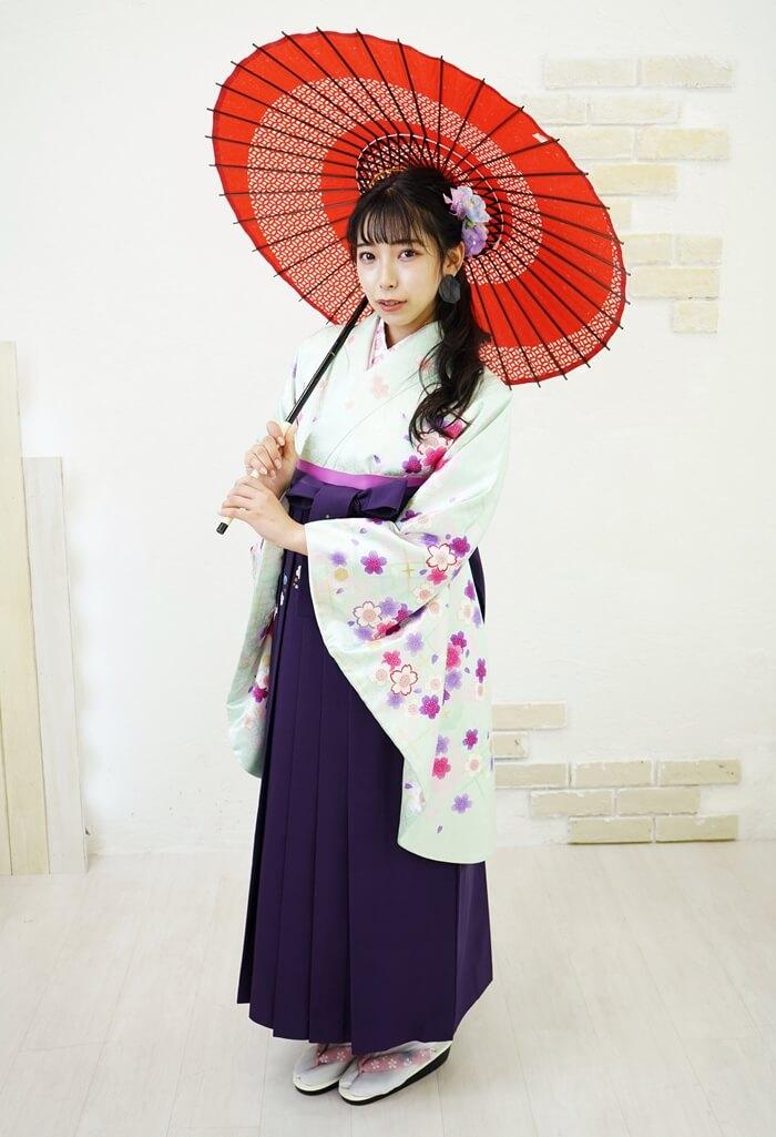 安い卒業式の袴【着物】グリーンラメ小桜+【袴】ムラサキ友チェーン桜