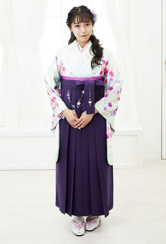 【着物】グリーンラメ小桜+【袴】ムラサキ友チェーン桜