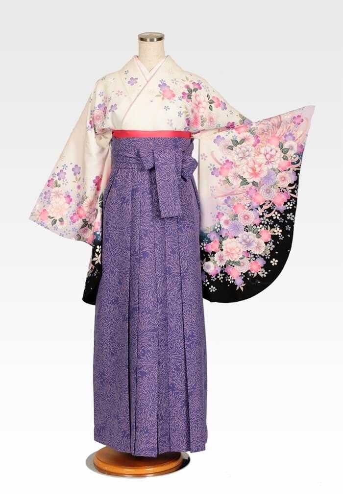 【着物】白桜地牡丹にリボン+【袴】総柄ブルー