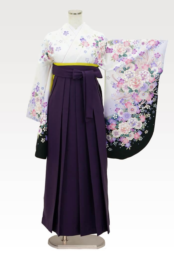 【着物】白桜地牡丹にリボン+【袴】ムラサキ