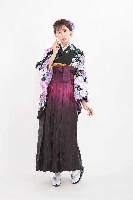 【着物】anan黒×紫牡丹流泉+【袴】HL紫ぼかし