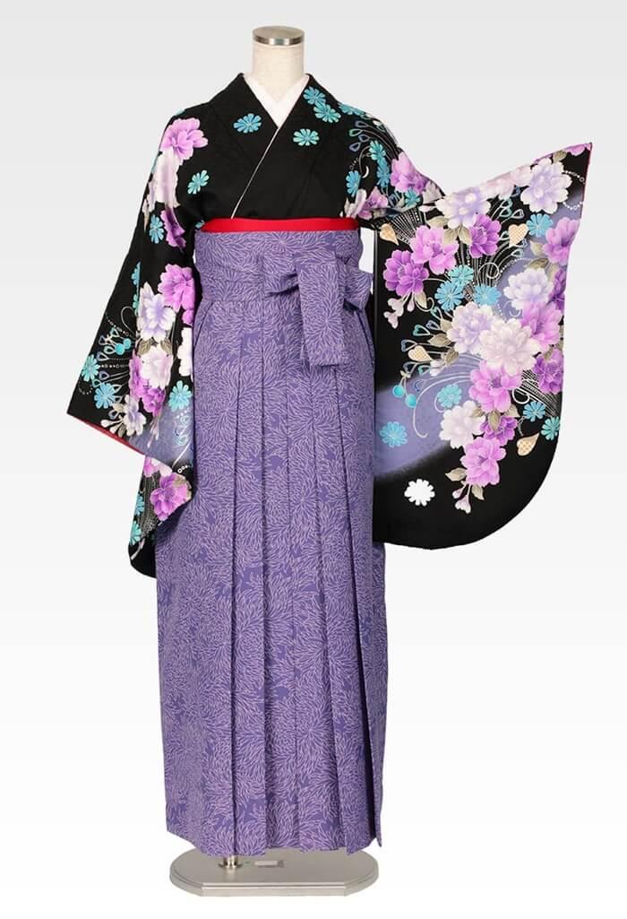 【着物】anan黒×紫牡丹龍泉+【袴】総柄ブルー