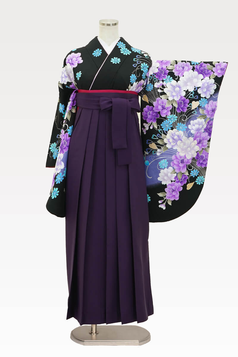 【着物】anan黒×紫牡丹流泉+【袴】ムラサキ