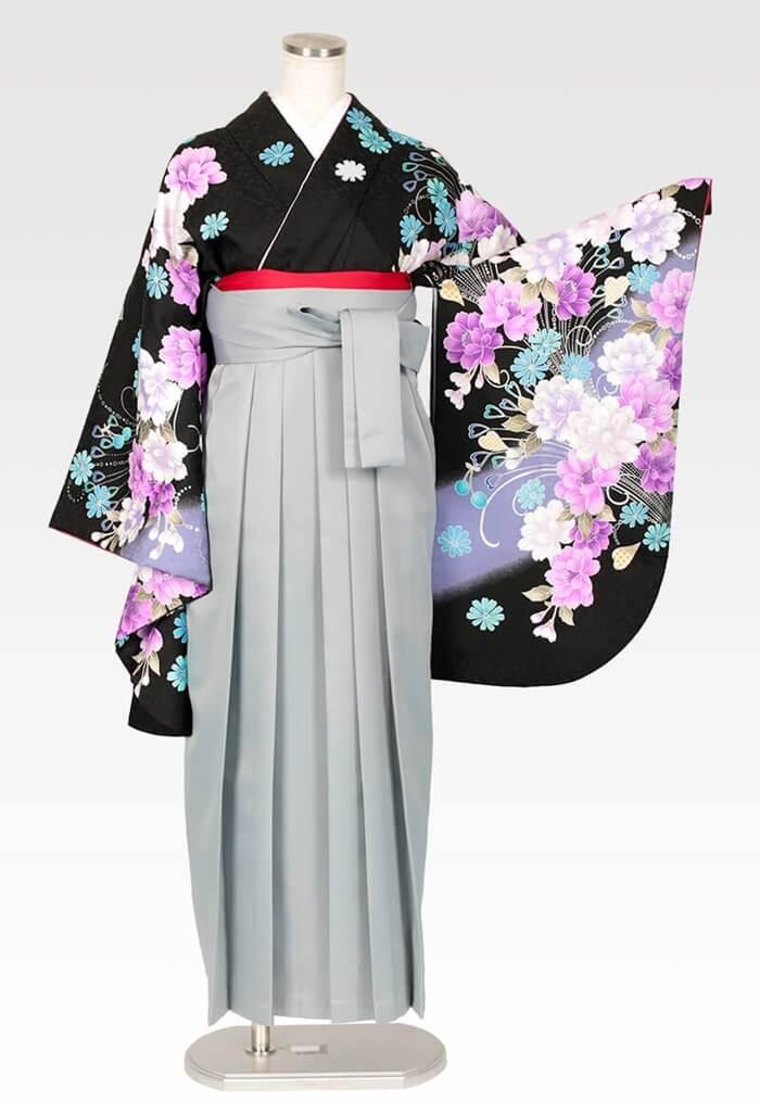 【着物】anan黒×紫牡丹流泉+【袴】ホワイトグレー