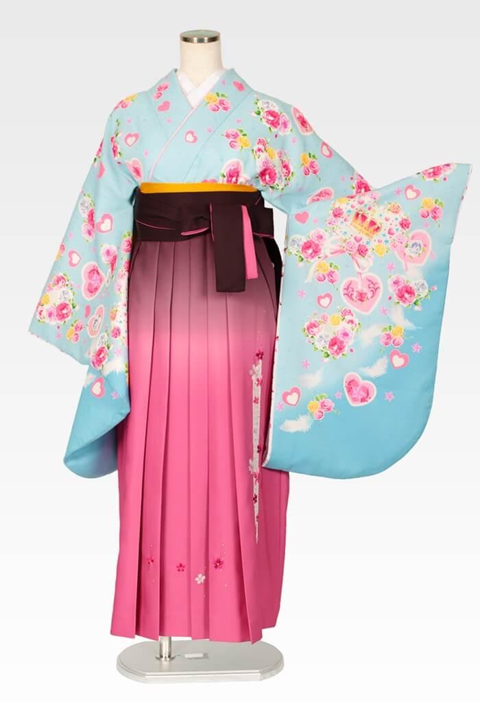 【着物】パステルブルーハート王冠+【袴】ピンクボカシレース桜