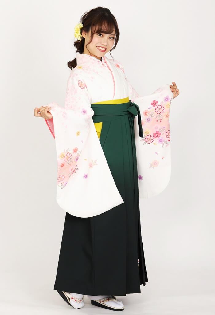 【着物】クリーム地金箔小桜散らし花輪+【袴】グリーンボカシ撫子に橘