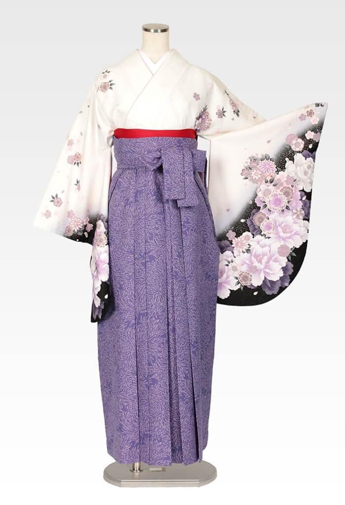 【着物】白地紫雪輪花+【袴】総柄ブルー