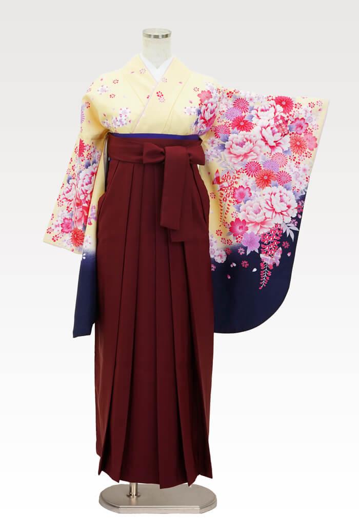 【着物】スザンヌ黄地 花づくし+【袴】エンジ