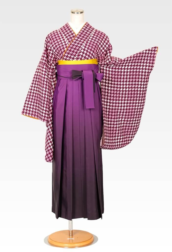【着物】ワイン千鳥+【袴】ムラサキボカシ