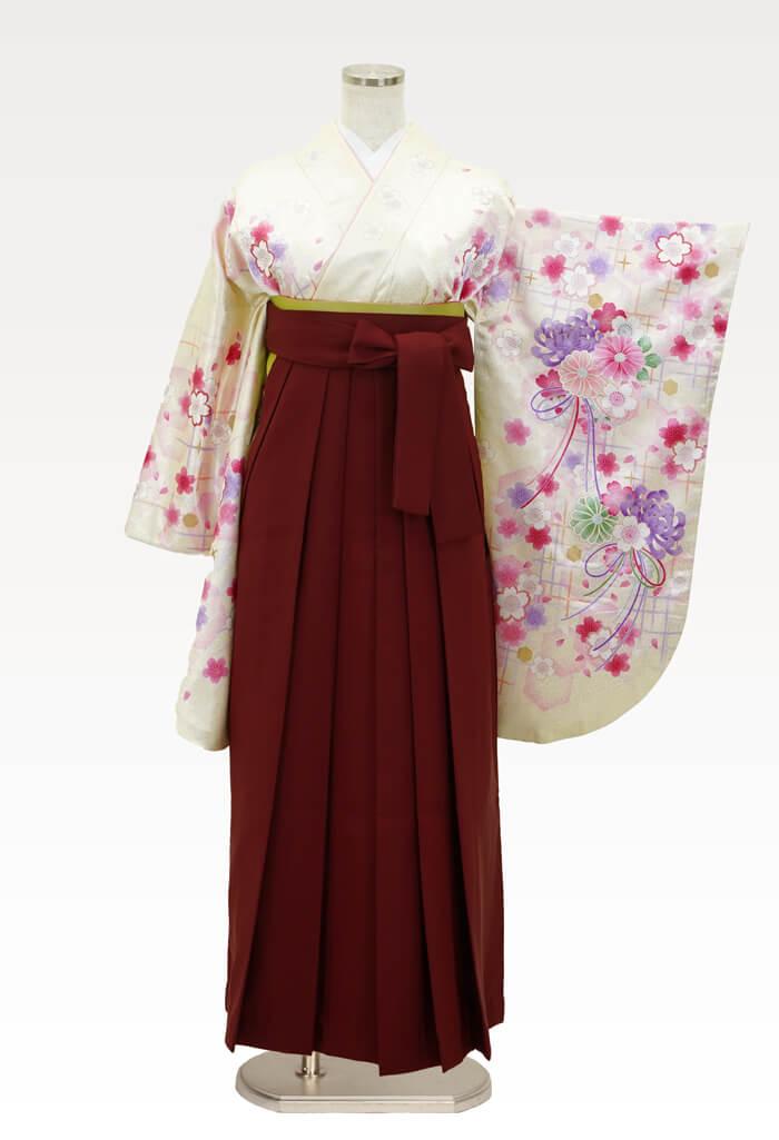 【着物】イエローラメ小桜+【袴】エンジ
