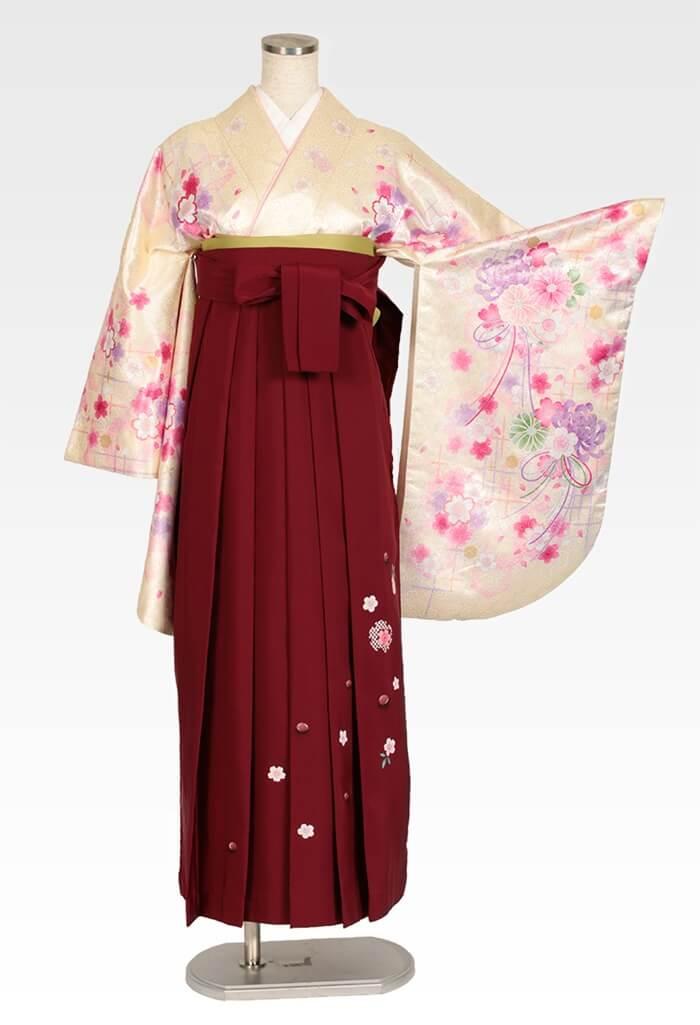 【着物】イエローラメ小桜+【袴】エンジ友疋田桜