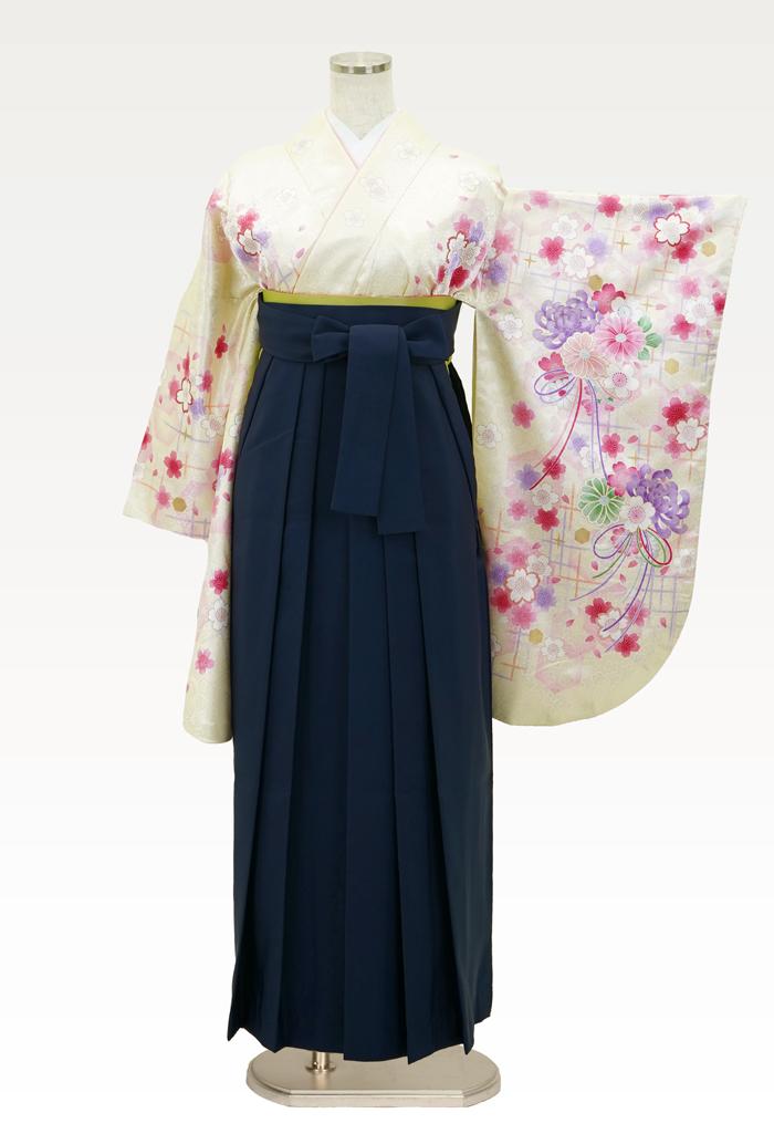 【着物】イエローラメ小桜+【袴】コン