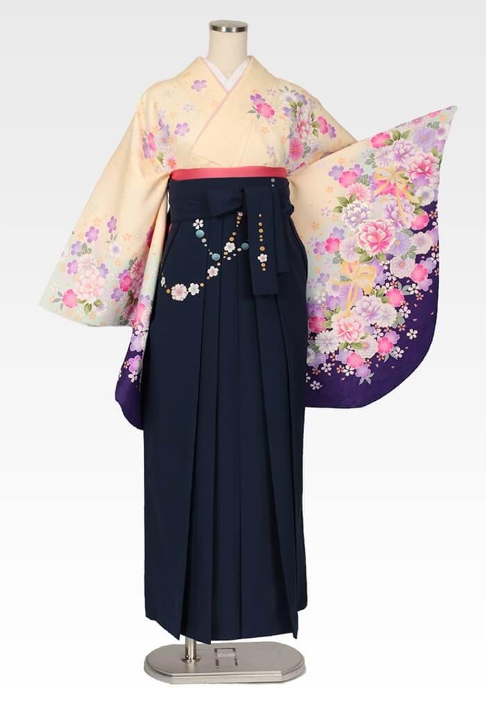 【着物】クリーム桜地牡丹にリボン+【袴】コン友チェーン桜