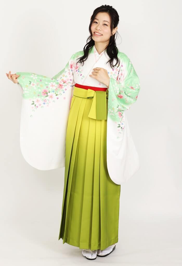 【着物】肩淡緑ボカシコスモス+【袴】キイロボカシ