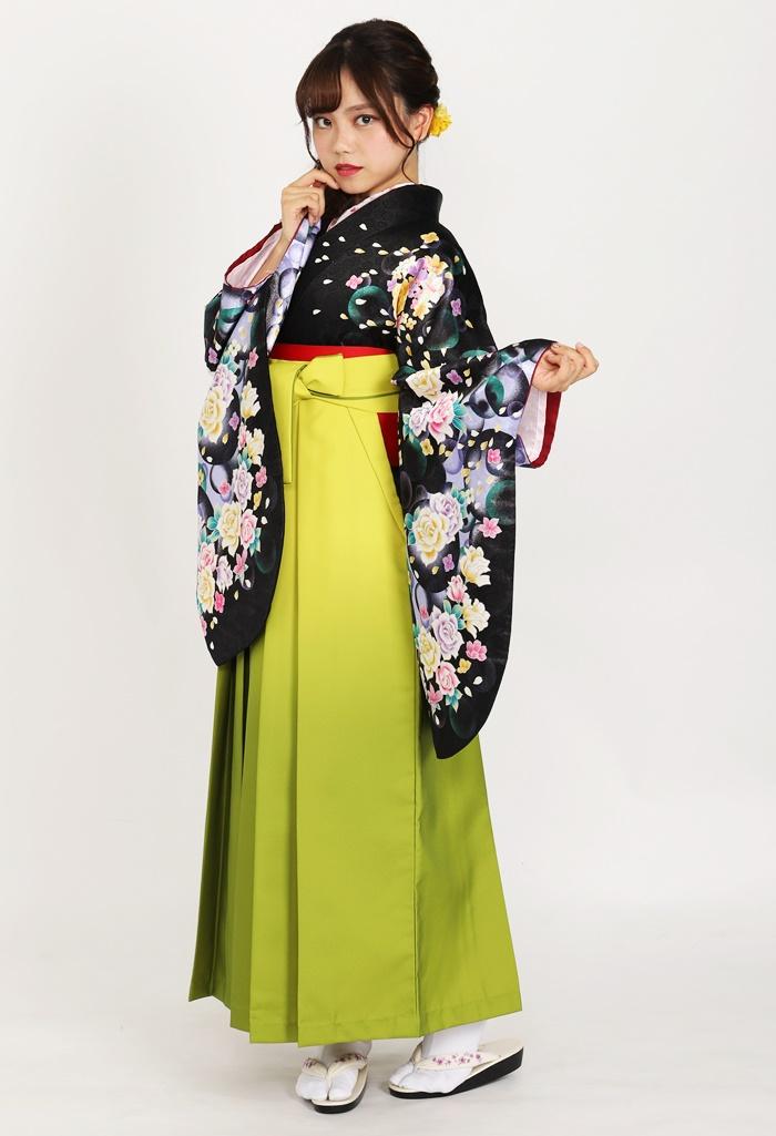 【着物】黒シャボン+【袴】キイロボカシ