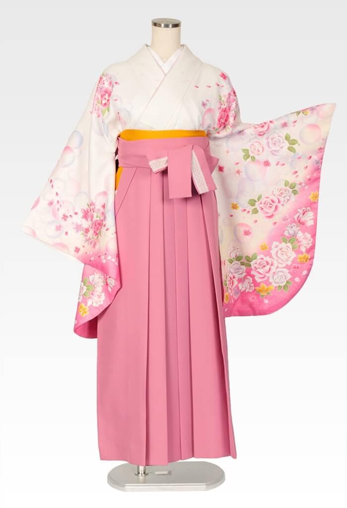 【着物】白シャボン+【袴】ピンクレースリボン