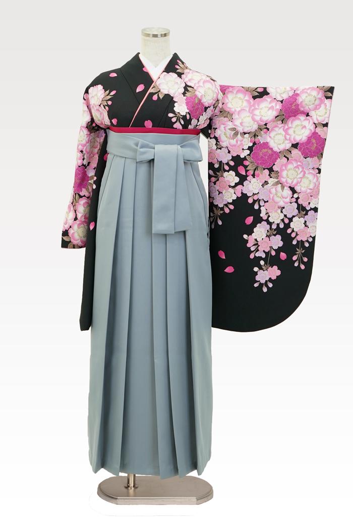 【着物】ナカノ春黒+【袴】ホワイトグレー
