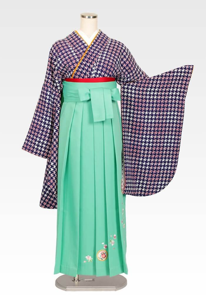 【着物】紫紺千鳥+【袴】ミントグリーン撫子に橘