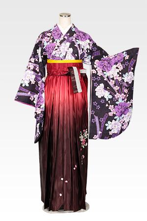 紫地牡丹リボンと赤茶ぼかしバラ刺繍