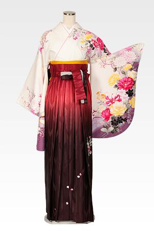 ハナエモリ白地四季花色どりと赤茶ぼかしバラ刺繍