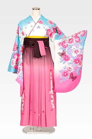 スザンヌ白地ブルーピンクぼかしレース蝶とピンクボカシレース桜