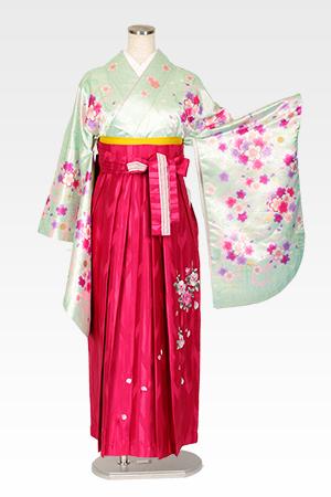 グリーンラメ小桜とピンクバラ刺繍