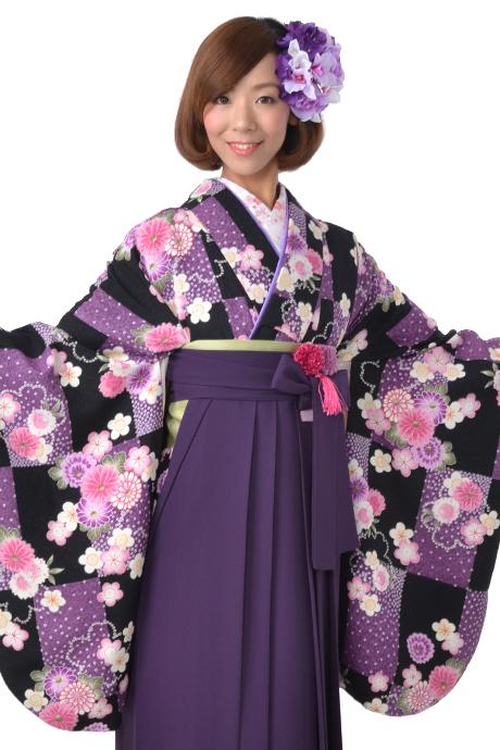 【着物】クロムラサキ市松小紋