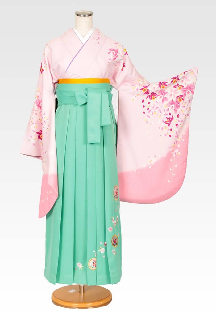 【着物】ピンクラン柄エバ+【袴】ミントグリーン撫子に橘