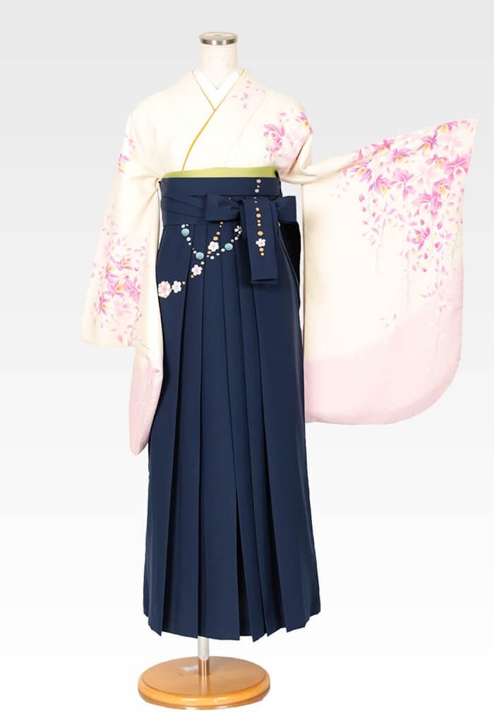 【着物】クリームにピンクラン柄エバ+【袴】コン友チェーン桜
