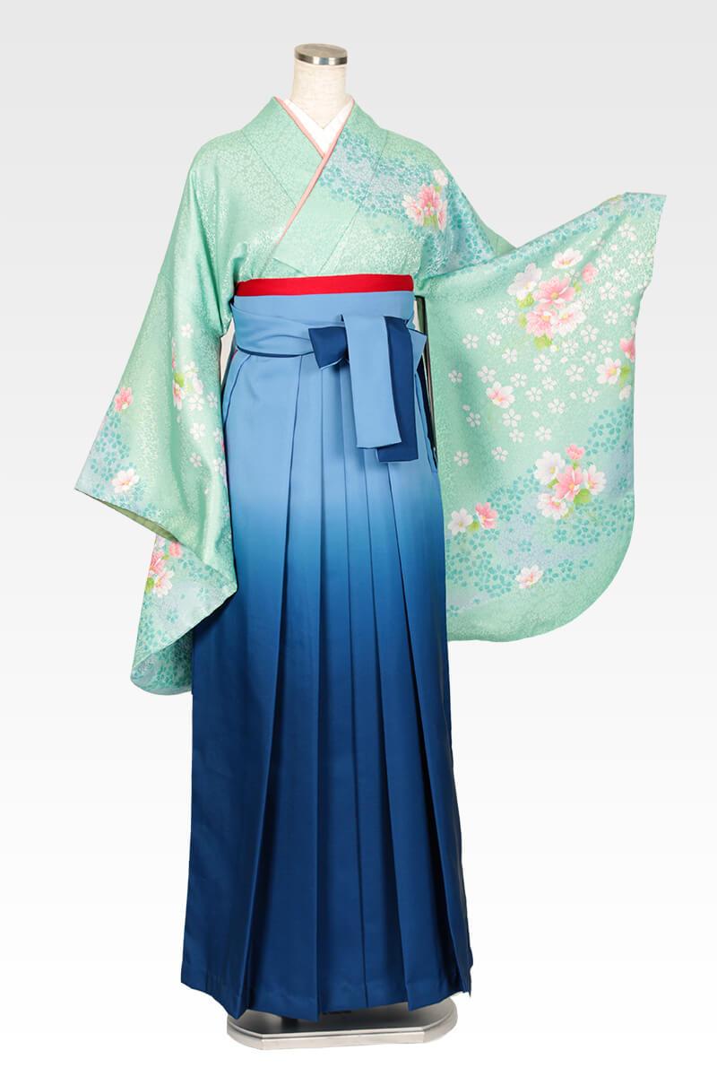 レンタル着物:グリーンネズ袖洋花集+レンタル袴:ブルーボカシのコーディネート