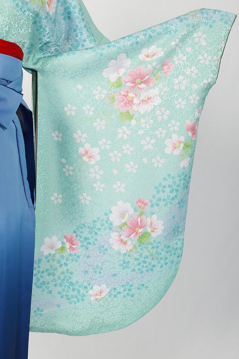 レンタル着物:グリーンネズ袖洋花集の袖