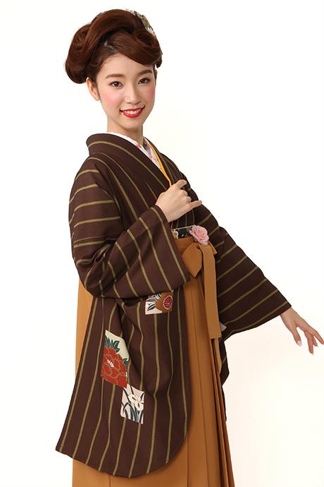 【着物】コゲチャに竹縞色紙