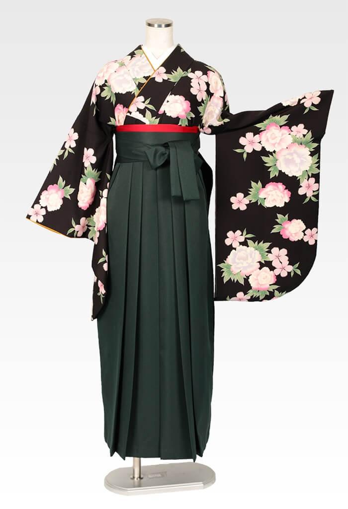【着物】黒にボタンにサクラ+【袴】フカミドリ