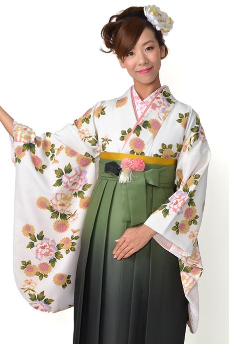 【着物】白にボタン菊小紋