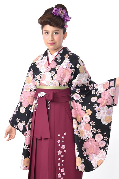 【着物】黒に疋田桜小紋
