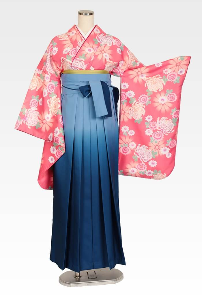 【着物】ローズピンク乱菊+【袴】ブルーボカシ