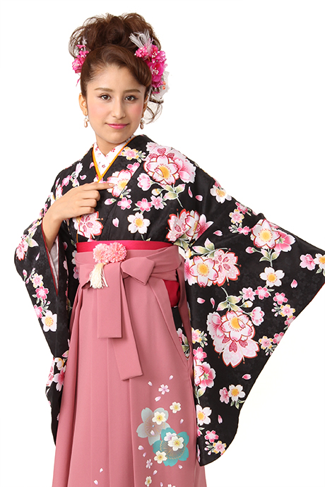 【着物】黒に小桜リング小紋
