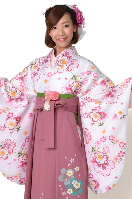 【着物】ピンクに小桜リング小紋